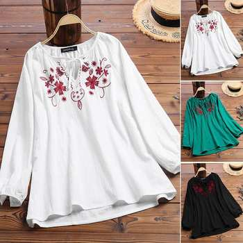 2019 ZANZEA Vintage Embroidery Shirt Autumn Blouse Women V Neck Long Sleeve Cotton Linen Tops Plus Size Robe Femme Party Blusas 4