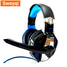 цена на 2019.6 Headset SWEYQI A701 Headphones With Microphone Over Ear Headsets Bass HiFi Sound Music Stereo Earphone