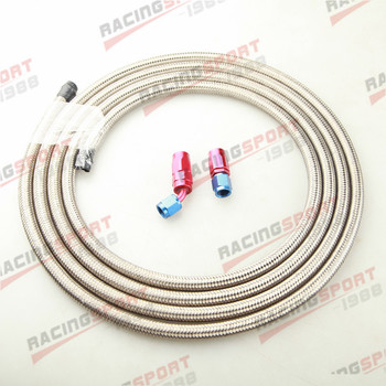 Stainless Steel Braided AN-10 10AN Fuel Gas Line Hose 3M + Swivel Hose End Fitting