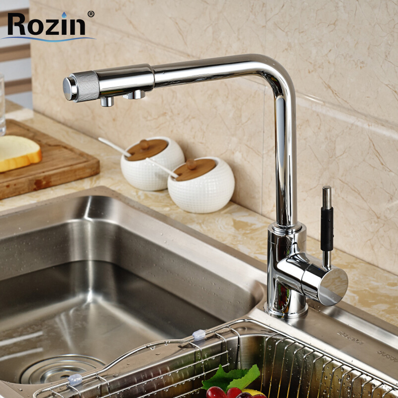 Chrome Finish 3 Way Kitchen Purifier Faucets Deck Mount Pure Water Flow Filter Tap