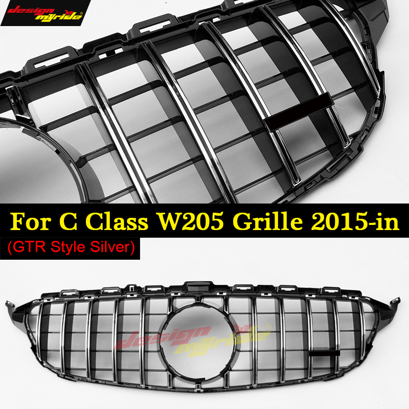 W205 C Class GTS Style Grille Grill Sport Without Camera ABS Silver C180 C200 C250 C300 C350 C63 Look Grills Without Sign 15-18