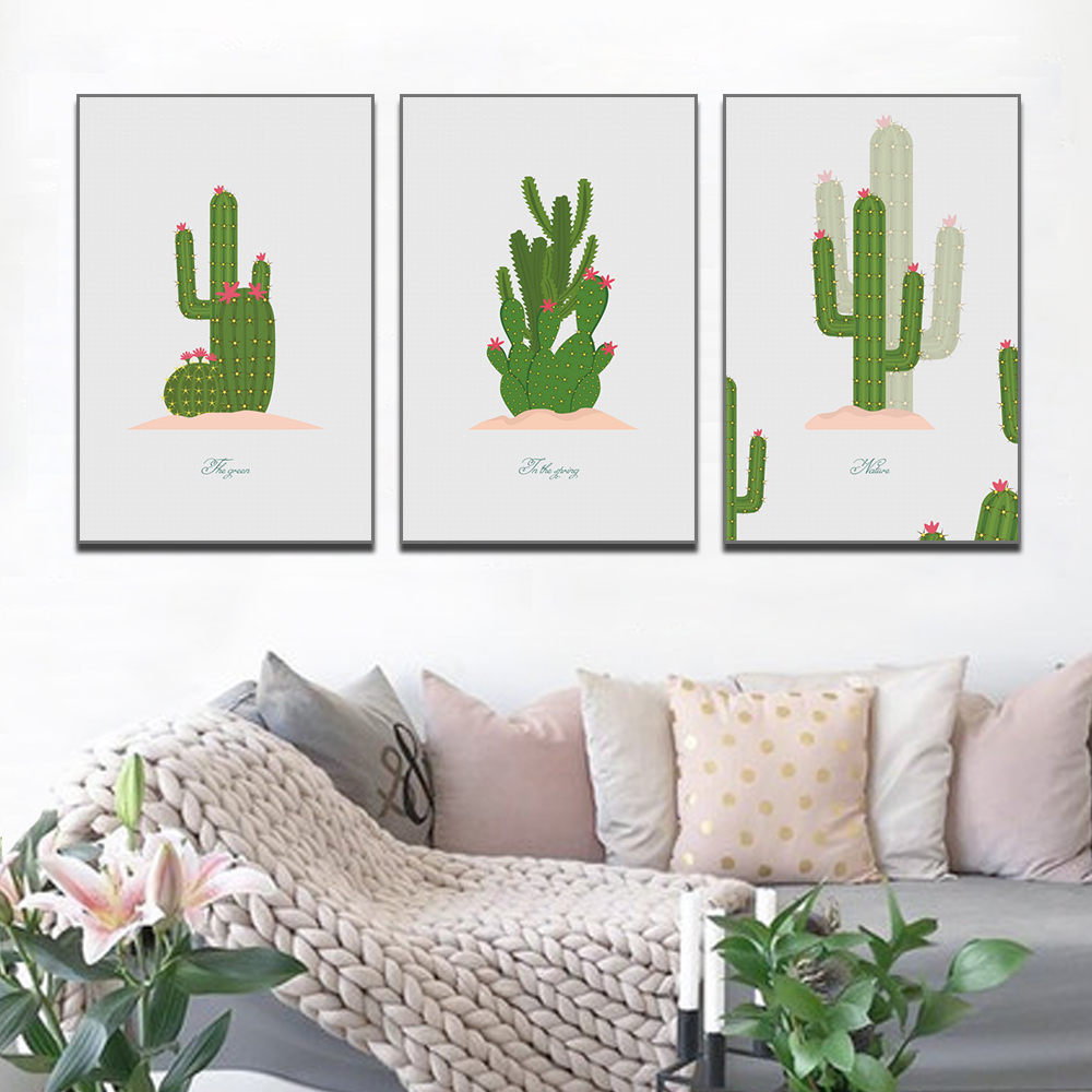 Unframed HD 3 Art Paintings Creative Cartoon Plant Decorative Painting Cute Cactus Living Room Inkjet Mural Free Shipping