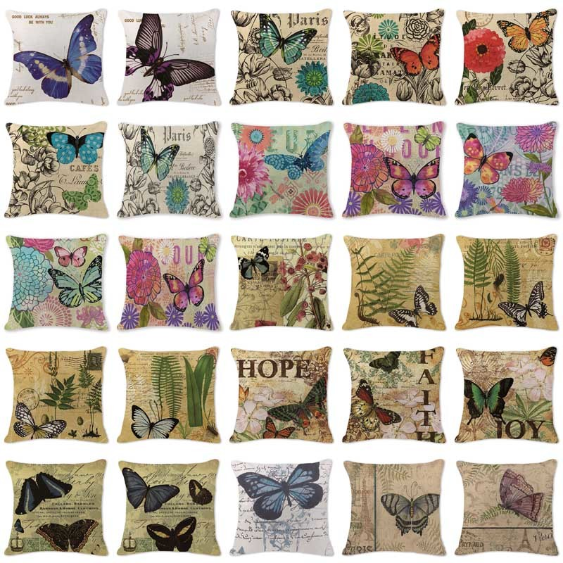 Customized Cushion Covers European Butterfly Black Pillow Cases Chair Sofa Large Cotton Linen Lounger For Beach Blue Almofada