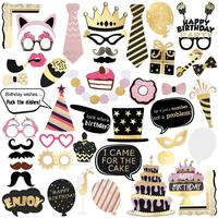 BESTOYARD 48pcs Set Party Photo Booth Props Creative Pose Sign Kit For Wedding Birthday Photographing Decoration