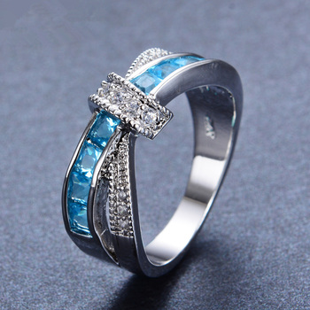 Beautiful pretty fashion Wedding Party White gold color silver color NICE women Purple crystal Lady Ring jewelry LR050 2