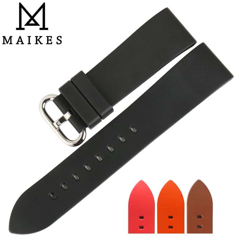 MAIKES New good quality watch accessories rubber watchband 22mm 24mm fluororubber black sports bracelets men watch strap tivdio 433mhz wireless 2 wrist watch receiver 20 calling transmitter button call pager four key pager restaurant equipment f3285
