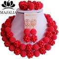 Роскошные Нигерии Свадебные африканские бусы комплект ювелирных изделий красный Кристалл ожерелье Свадебные Украшения Наборы Бесплатная доставка Г-77