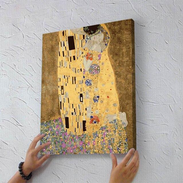 Густав климт поцелуй живопись подарки DIY ручная роспись по номерам абстрактный рисунок раскраски по номерам на холсте с деревянной рамой