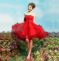 Nuevo Corto Simple Numeious color Una Línea vestido de Bola Longitud de La Rodilla Drapeado Vestido de Dama de honor Del Hombro Con Atractivos de La Boda