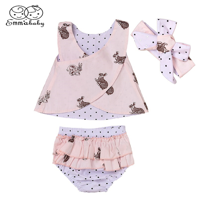 Emmababy Newborn Baby Kids Girl Clothes Tops Summer Top Bunny Sleeveless Shorts Bottoms Headband Outfit Clothes Set Baby Girls