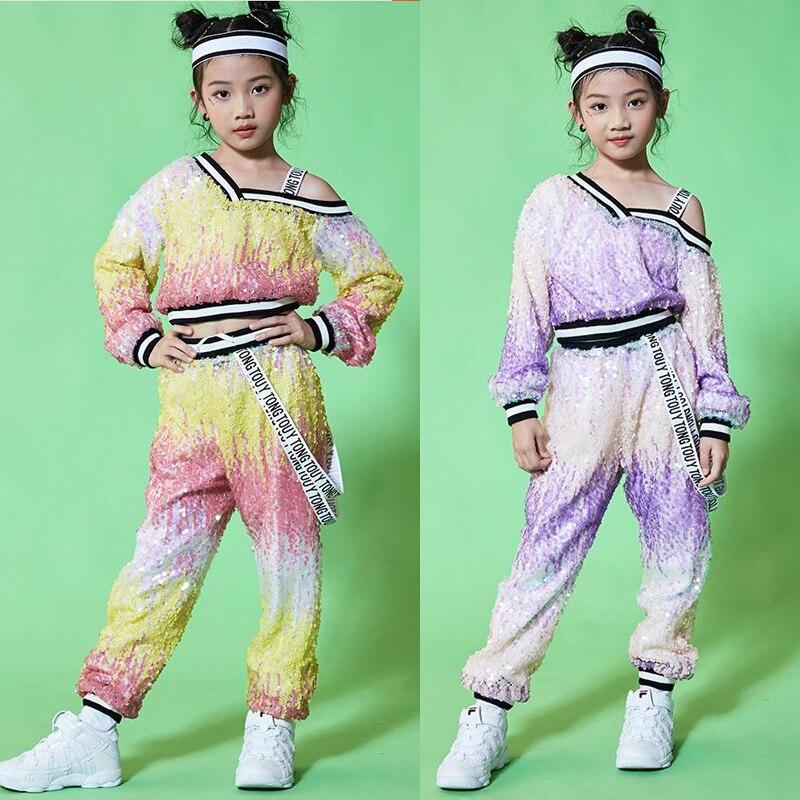 Enfants filles paillettes manteaux veste pantalons de survêtement Hip Hop vêtements tenues Jazz danse Costume enfants salle de bal danse vêtements costumes