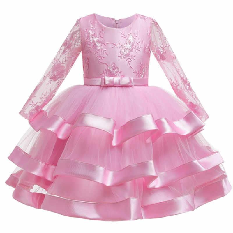 2019 Meninas de Inverno Vestido de Roupa Das Meninas Do Partido Do Bolo De Casamento de Manga Comprida vestido Tutu Vestido de Princesa Crianças Vestidos Para Meninas Roupas