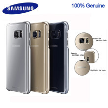 100% Originele Samsung smartphone cover voor Galaxy S7 S7Edge Higt Kwaliteit PC Anti-Drop Galvaniseren Transparante case(China)