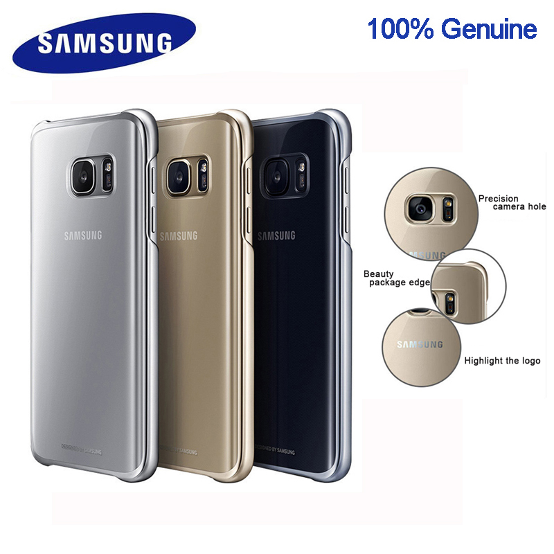 100% <font><b>Original</b></font> <font><b>Samsung</b></font> smartphone cover for Galaxy <font><b>S7</b></font> S7Edge Higt-Quality PC Anti-Drop Electroplating Transparent <font><b>case</b></font> image