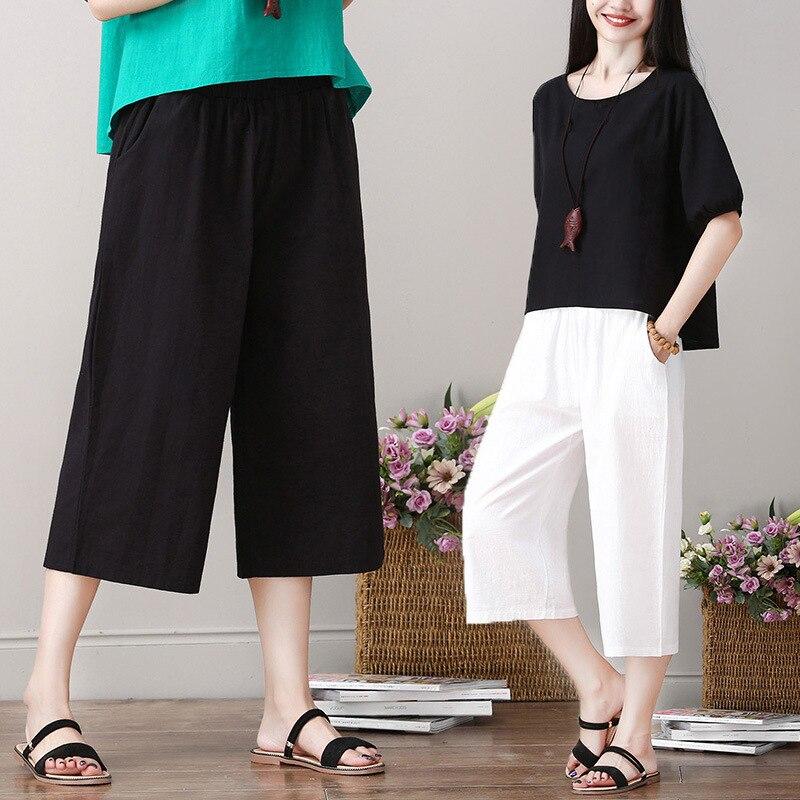 #0703 Casual Cotton Linen   Pants   Women Black White   Wide     Leg     Pants   Ladies Loose Elastic Waist Thin Vintage Trousers Calf-length