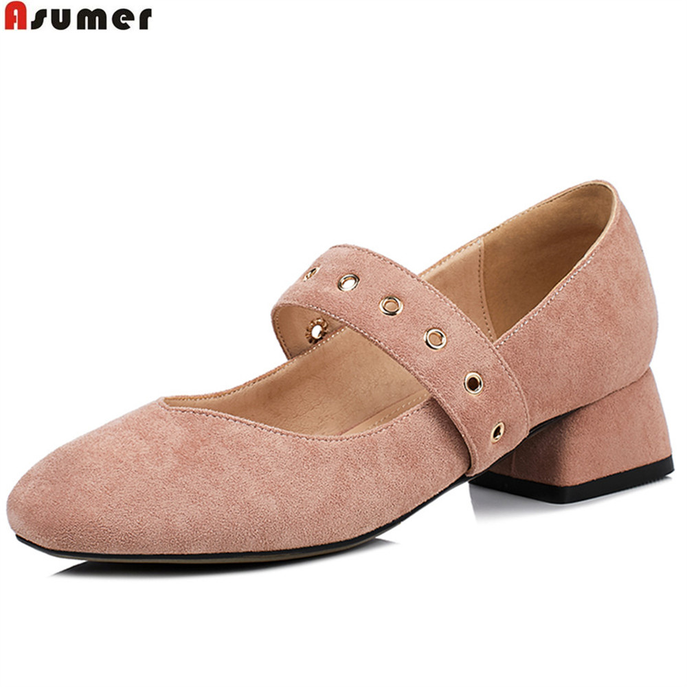 ASUMER black pink fashion square toe buckle casual ladies single shoes square heel 2018 spring autumn women med heels shoes asumer black white fashion spring autumn ladies single shoes pointed toe square heel women genuine leather med heels shoes