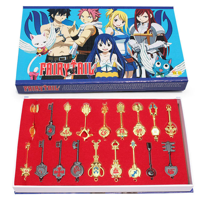 8100e9240444 Fairy Tail 18pcs set Keychain Lucy Key chain Scale Free Pink Tattoo ...