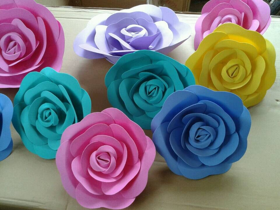 New arrival 20cm bubble paper flower 3d handmade rose for New flower decoration