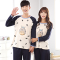 2017 New Couple Pajama Sets Totoro and Letter Printing Long Pants Nightwear for Lovers -5078