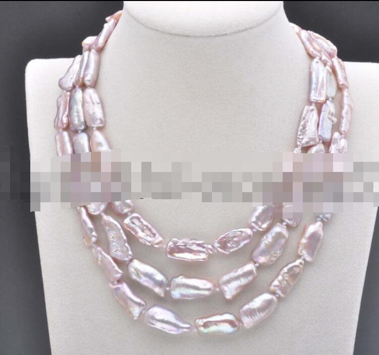 Free shipping 20mm White BAROQUE DENS Biwa REBORN KESHI PEARL Necklace 48inch