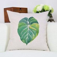 Nordic 45x45cm Green Decorative Pillowcase Tropical Palm Leaf Series Pattern Cushion Cover Plant Square Car Supplies