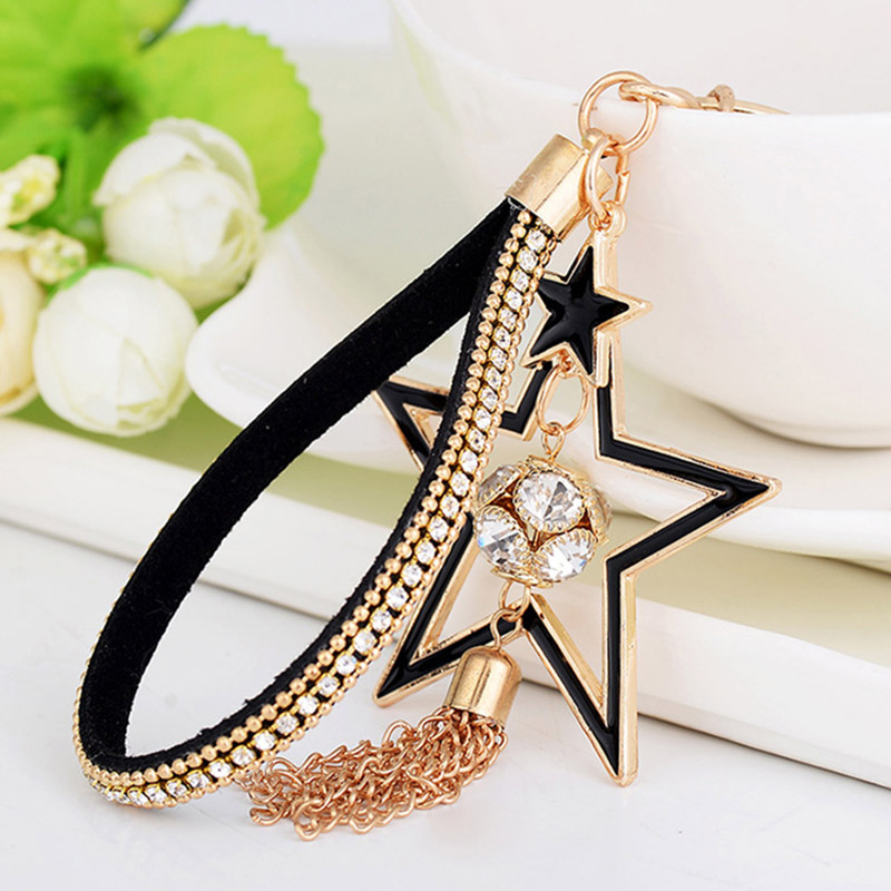 Fashion Rhinestone Crystal Star Keychain Chain Tassel Pendant Key Ring Holder Car Key Cover Women Bag Charms Trinket Gifts
