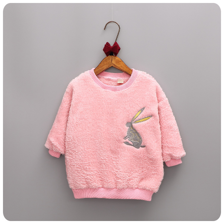 Children s Garment 2016 Korean Autumn Pattern Embroidery Rabbit font b Hoodies b font Girl Precious