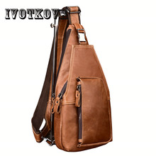 IVOTKOVA Fashion Genuine Leather Crossbody Bags men Small Shoulder Bag multifunctional messenger Casual Mens Chest for Boy