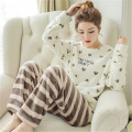 Autumn Winter Flanel Fleece Couple Pajamas Set Women's Sleepwear Pajama Sets Female Pijamas Couple Pyjamas Causal Home Clothing