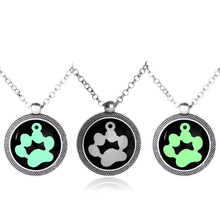 Pet Paw Pendant Neckalce Glow In The Dark Necklaces Luminous Dog Cat Paw Necklaces Silver Color Necklace for Pet Lovers 2 Colors