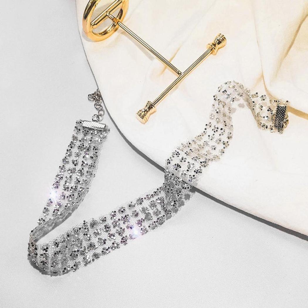 Mesh Sequins 2inch Silver 2inch Necklace 12 5cm 31cm Women Gold Choker Shape Casual Geometric