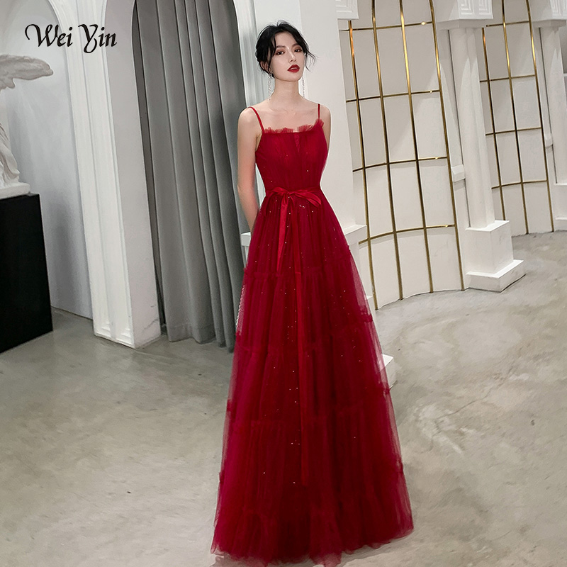 wei yin Sexy Tulle Long   Evening     Dress   2019 New Arrival Backless Pleat A Line Special Occasion Prom Gowns Custom Made WY1809