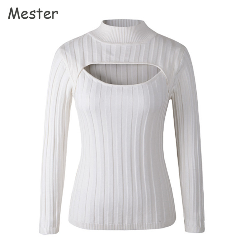 Japanese Sexy Turtleneck White Jumpers Anime Cosplay Open Chest Sweater  Sweet Cute Long Sleeve Low Cut