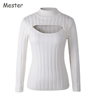 Japanese Sexy Turtleneck White Jumpers Anime Cosplay Open Chest Sweater Sweet Cute Long Sleeve Low Cut Out Choker Sweaters