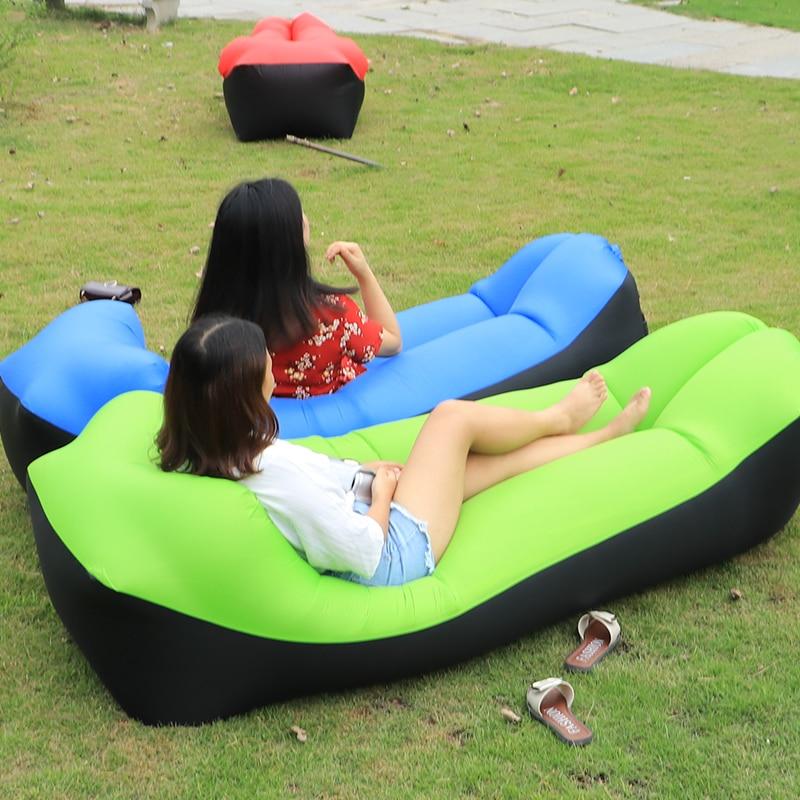 2020 Hot Sale Fast Inflatable Sofa Lazy Bag Sleeping Bag 240*70cm Camping Portable Air Banana Sofa Beach Bed Air Hammock Nylon