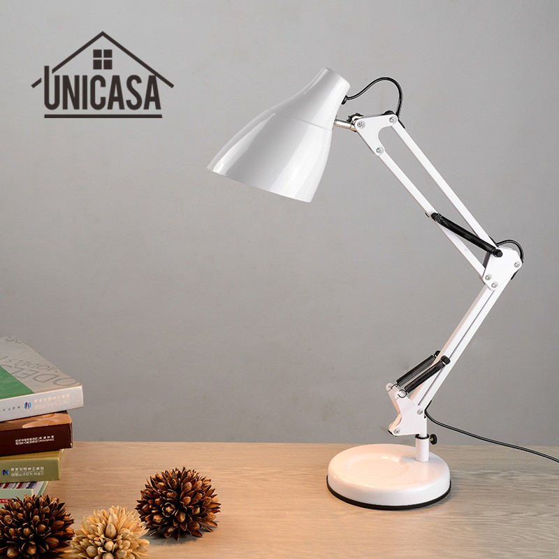 Adjustable Clip Desk Lamps Bedside Desk Top Table Lights Bedroom White Table Lamp Office Light Libraly Porch Industrial Lighting