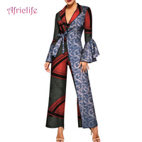 Flare Long Sleeve Women Jumpsuit Bazin African Jumpsuit for Women Ankara Print Romper Jumpsui Women African Clothing WY4388