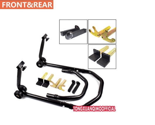 All in One Motorcycle Stands Swingarm Paddock Spoll Hook Front And Rear Wheel Lift Stand