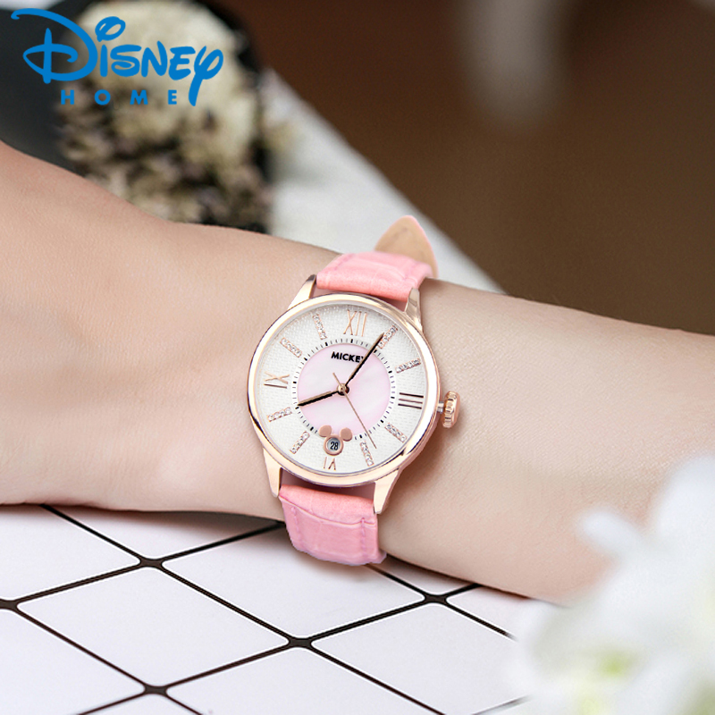 2017 Disney Fashion Watch Women Top Brand Luxury Leather Quartz Watches for Woman Lady Wristwatch relogio feminino montre femme luxury top brand guanqin watches fashion women rhinestone vintage wristwatch lady leather quartz watch female dress clock hours