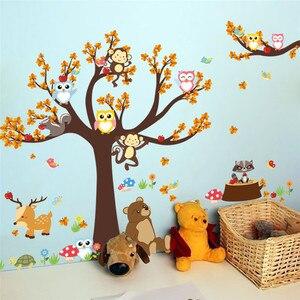 Image 2 - Forest Tree Branch leaf Animal Cartoon Owl Monkey Bear Deer Wall Stickers For Kids Rooms Boys Girls Children Bedroom Home Decor