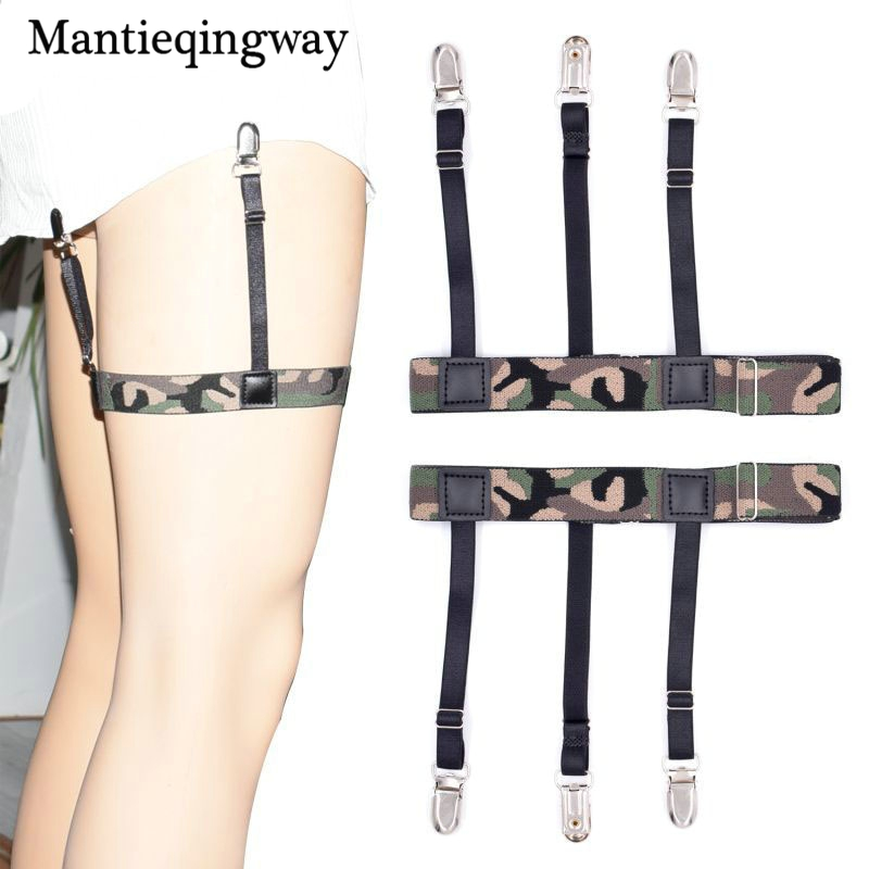 Mantieqingway Mens Shirt Stays Garter Adjustable Camouflage Suspenders Braces Adult Shirts Garter Holder Suspensorio Belt