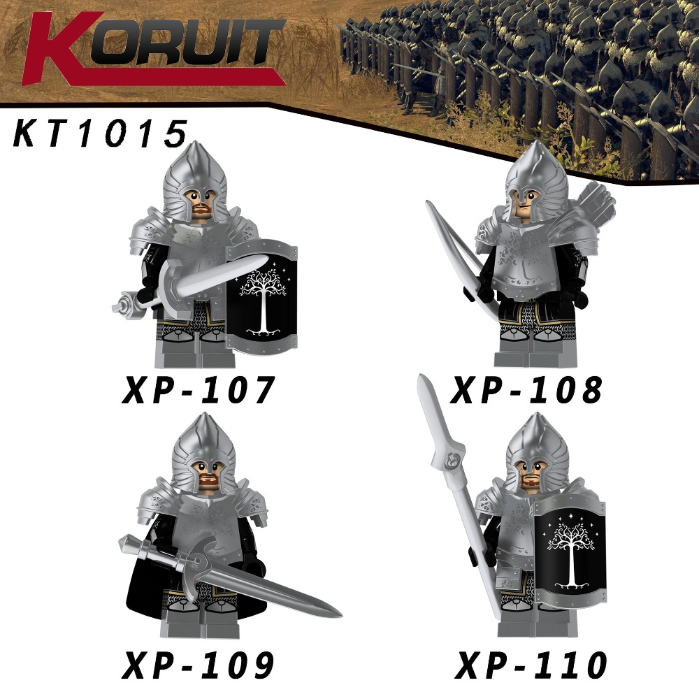 40PCS Lord of the Rings Figure Gondor Hero Soldier Heavy Infantry Spear Building Blocks Toys for