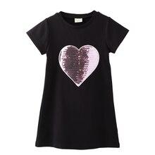 цены Summer 2019 New Girl dress knitted sequins cotton short sleeve children's cartoon round collar princess dress