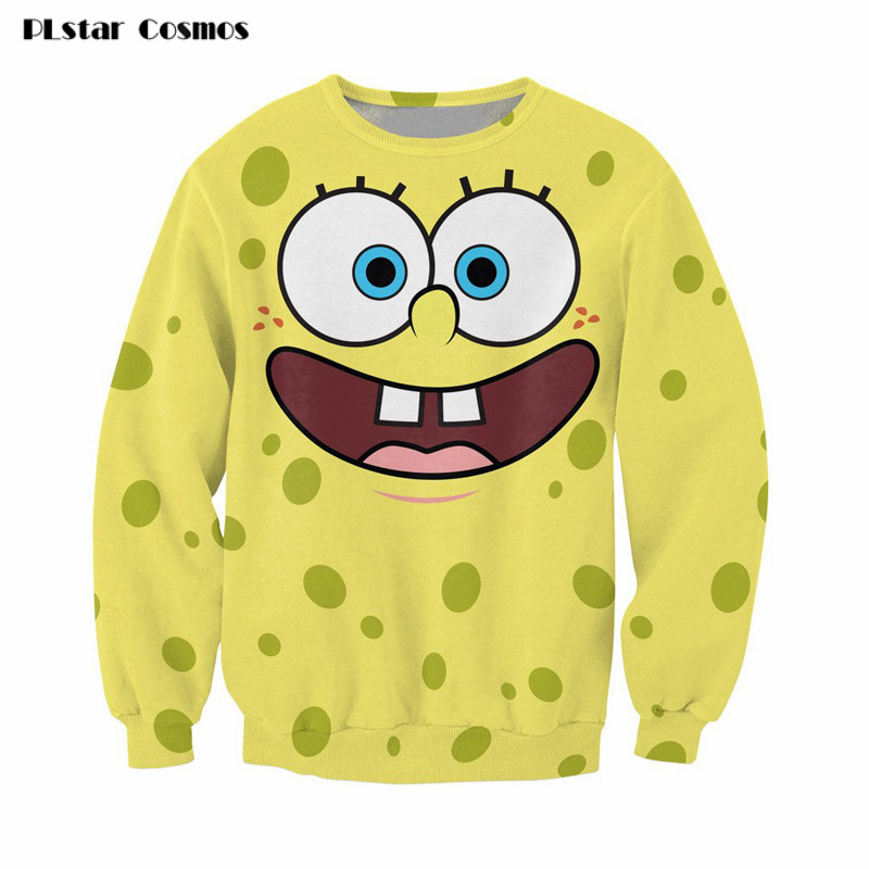 SpongeBob Hoodies Autumn Winter Long Sleeve Funny Sweatshirts Lovely Cartoon 3D Pullovers Unisex Jumper Free Shipping