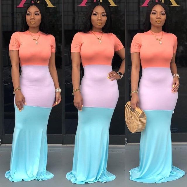 Back Zipper Women Floor Length Dress Summer Short Sleeve Maxi Robes Colored Block Patchwork Casual Dress Street Wear SY8341