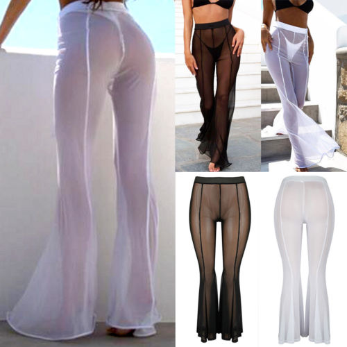Sexy Women See Through   Pants   2018 New Summer Lady Mesh Sheer Bikini Cover Up   Wide     Leg     Pants   Flared Trousers S-XL