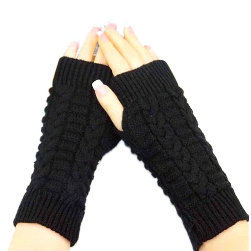 Good Deal New Fashion Knitted Arm Fingerless Winter Gloves Unisex Soft Warm Mittens Black Gift 1
