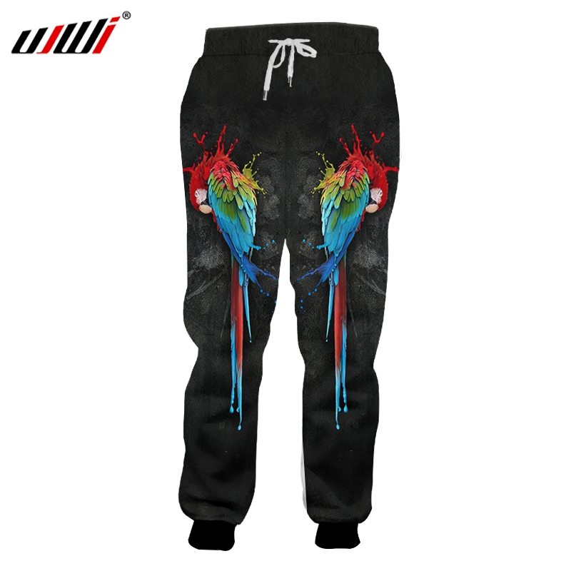 UJWI Sweatpants New Long 3D Print Parrot Black and red Hip Hop Plus Size 5XL Clothing Male Spring pants Dropshipping