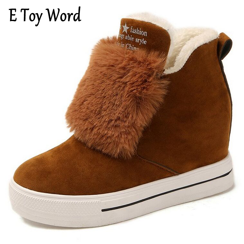 E TOY WORD height Increasing Boots Women Fashion Fur Female Warm Ankle Boots Women Boots Snow Boots Autumn Winter Women Shoes e toy word fashion ankle boots women spring autumn shoes women lace up solid boots female height increasing platform botas mujer