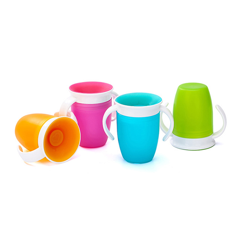 360 Degrees Can Be Rotated Baby Learning Drinking Cup With Handles Flip Lid Infant Training Leakproof Water Bottles CL5677